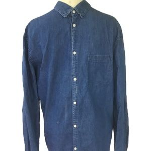 """H & M SHIRT MEN REGULAR FIT DENIM CASUAL BLUE 'L"